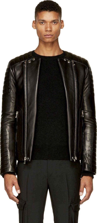 Balmain Black Leather Ribbed Biker Jacket Ssense