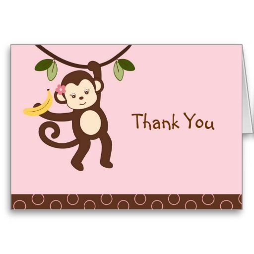 Trendy Girl Monkey Thank You Note Cards