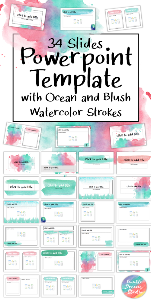 Editable Class Powerpoint Template Ocean Blush Watercolor Backgr Background For Powerpoint Presentation Powerpoint Slide Designs Free Powerpoint Presentations