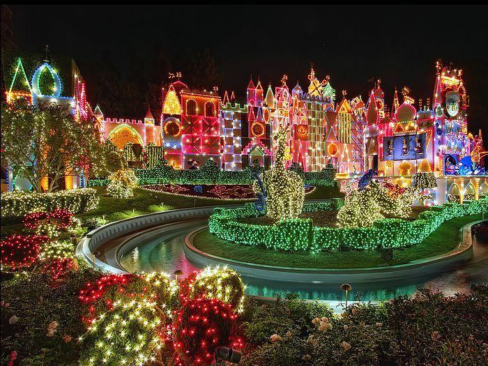 colorful disneyland night christmas decorationsjpg disney disneyland smallworld christmas - Disneyland Christmas Decorations