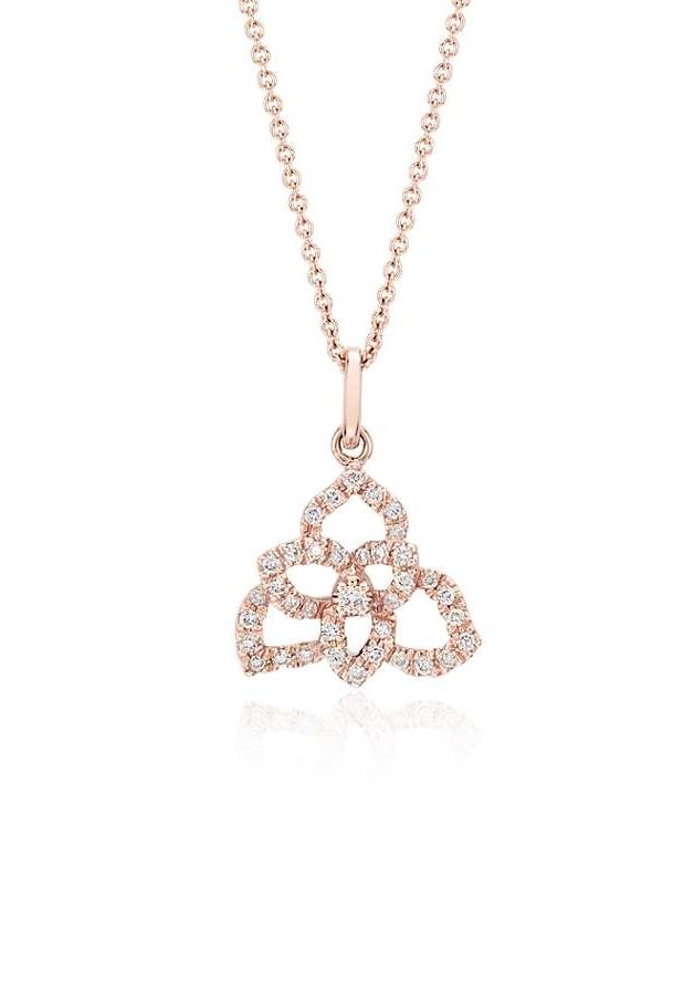 This pavé diamond floral pendant will be a sparkling addition to your look. Suspended from a delicate rose gold cable chain.