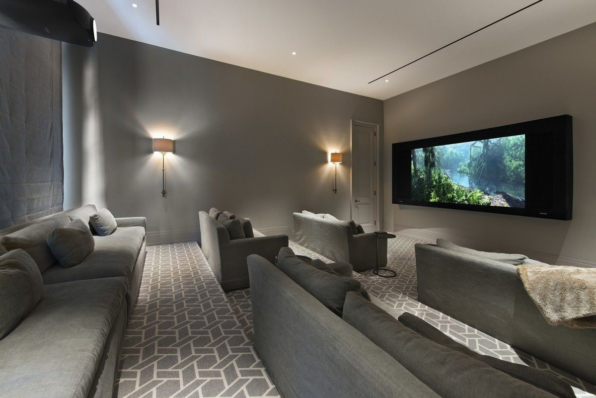 Contemporany media room bonita sala de cine en casa media game rooms pinterest cinema - Sala cine en casa ...