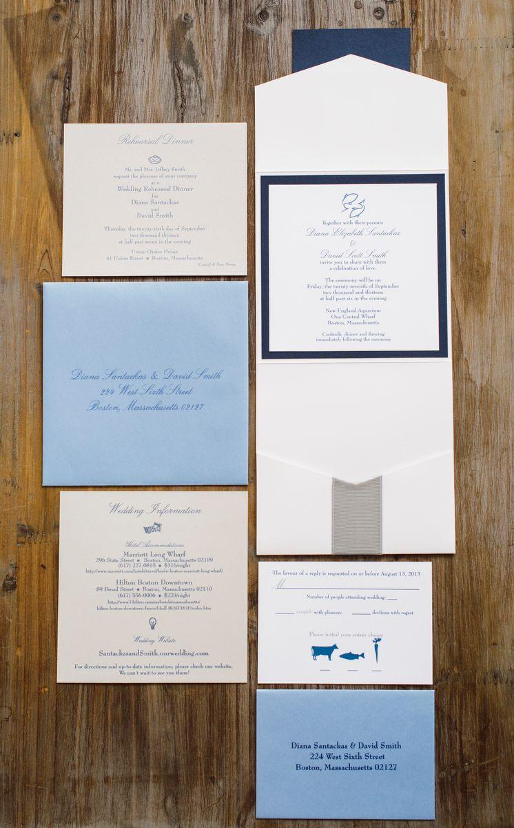 Detail Shot of White Envelopments Pocket Custom Wedding Invitation ...