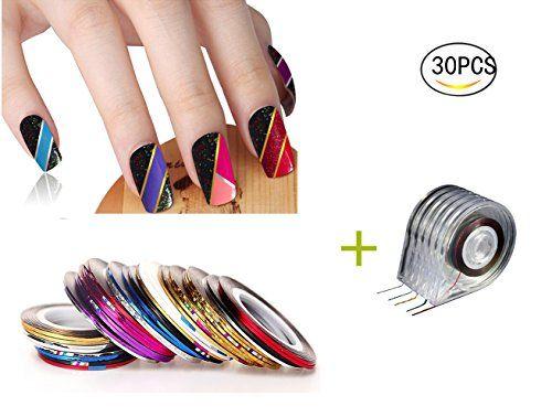 Healthcom 30 Pcs Rolls Striping Tape Nail Art Line Nail Decoration