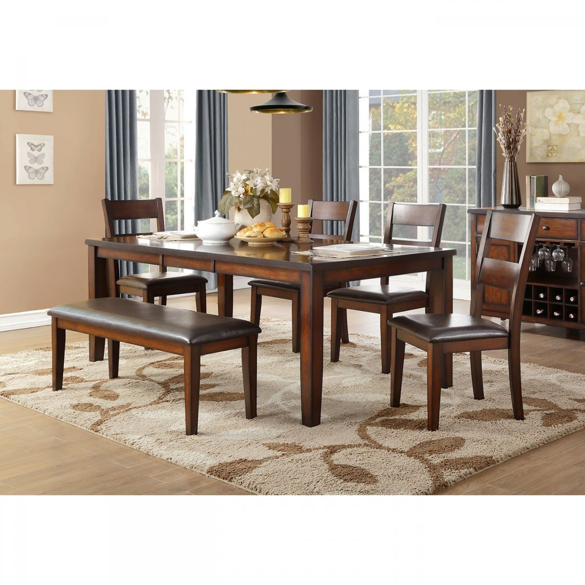 Badcock More Mantello 6 Pc Cherry Dining Room With Bench Drop Leaf Dining Table Dining Table Sizes Dining Room Sets [ 1200 x 1200 Pixel ]
