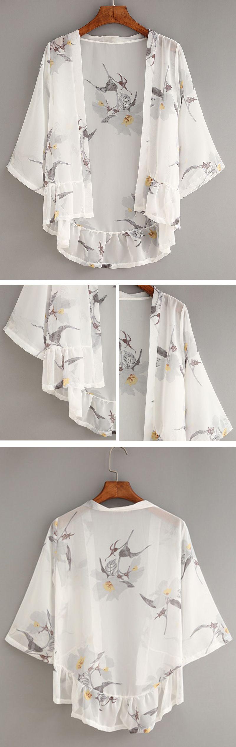 White Flower Print Ruffle Chiffon Kimono … | Pinteres…