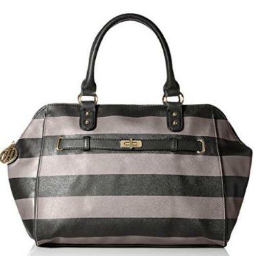 Tommy Hilfiger Black And Gray Stripe Satchel Bag Handbag Tote Purse Pocketbook #TommyHilfiger #Satchel