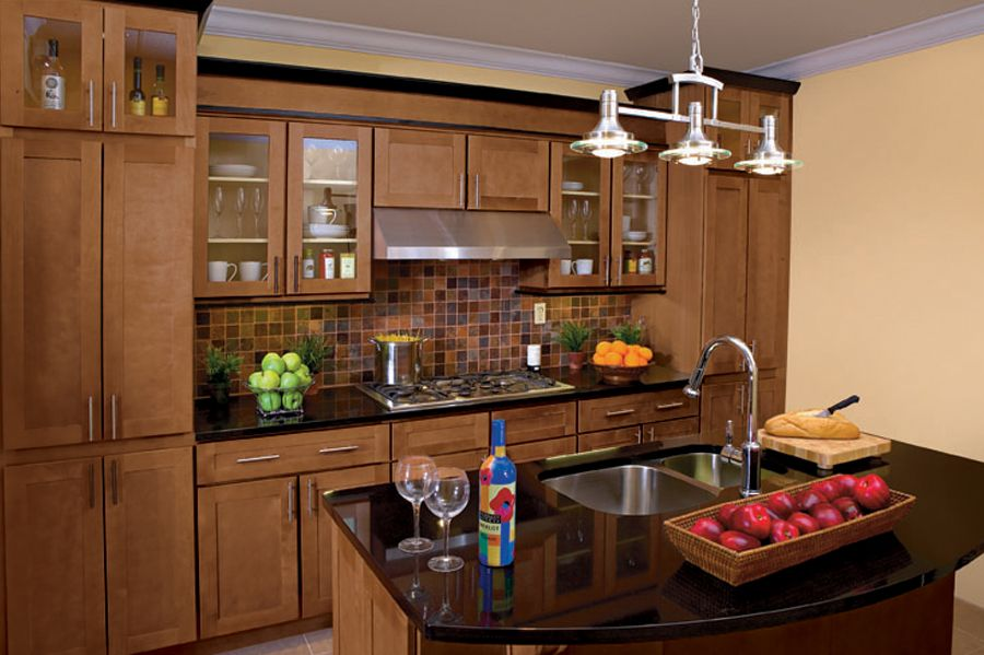 kitchen - I like the cabinet color with the black counter ... on Maple Cabinets Black Countertops  id=47630