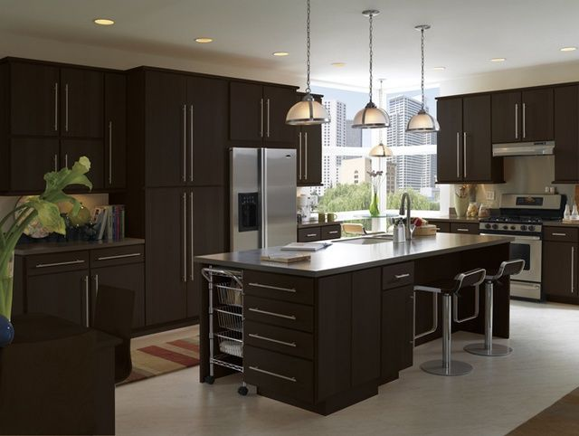 Contemporary Kitchen Design Espresso Cabinets Modern