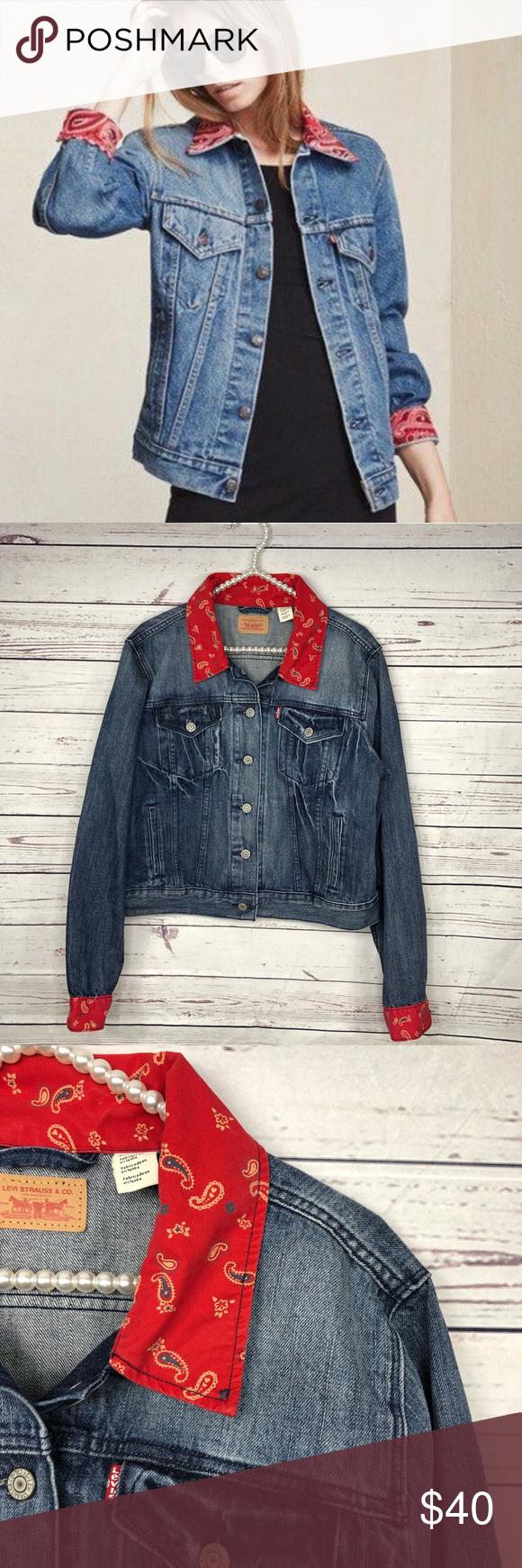 Levi S Denim Jeans Jacket With Bandana Trim Jackets Jean Jacket Denim Jean Jacket [ 1740 x 580 Pixel ]