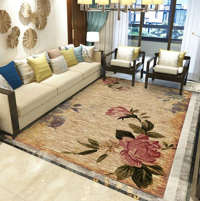 Large Floral Carpet For Living Room Bedroom Sofa Coffee Table Floor Mat Kids Room Bedside Carpet Home Decor Rugs Vintage Carpet Living Room Carpet Floral Carpet Rooms Home Decor