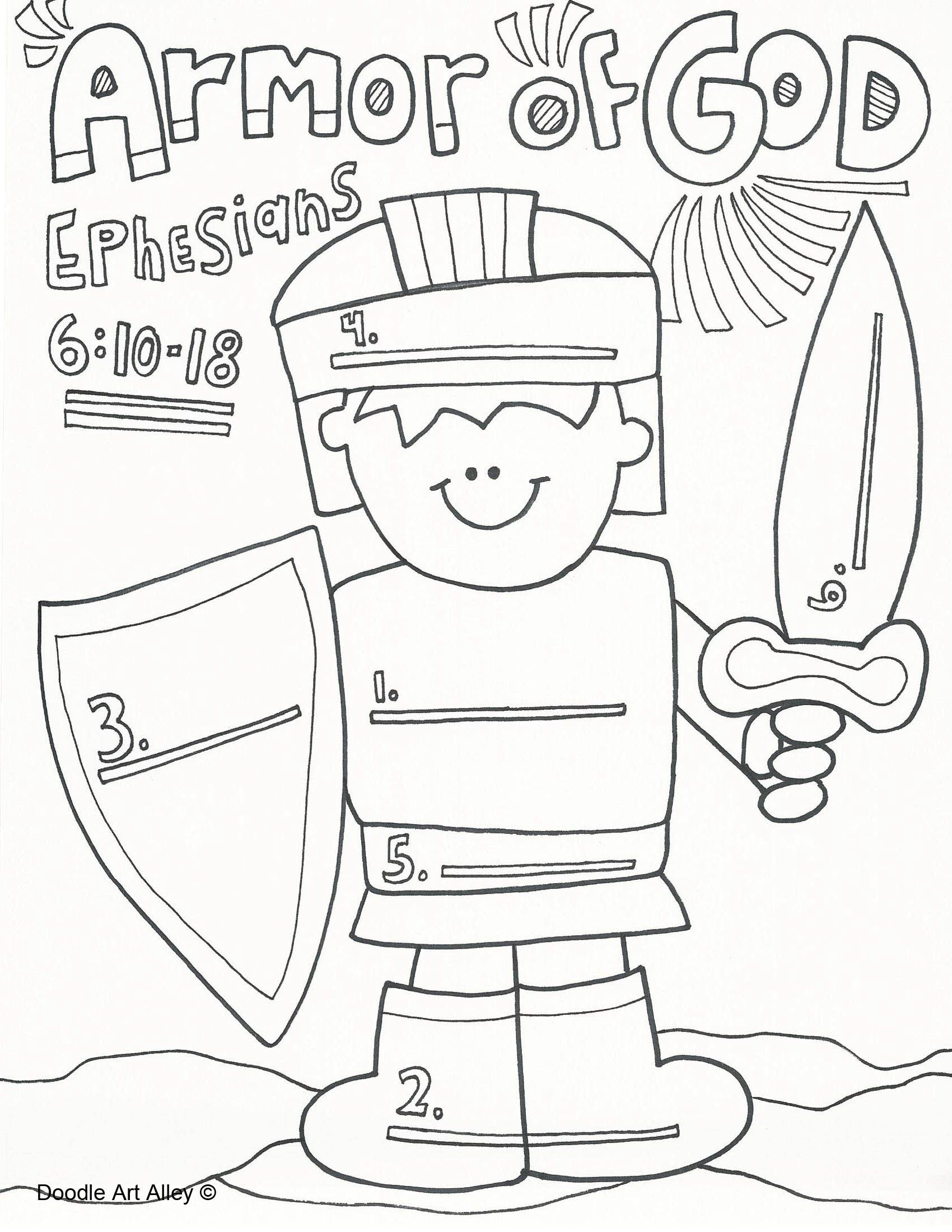Terrible image with armor of god printable coloring page