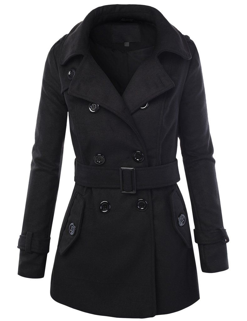 334e1030e LE3NO Womens Long Button Down Double Breasted Peacoat Jacket With ...