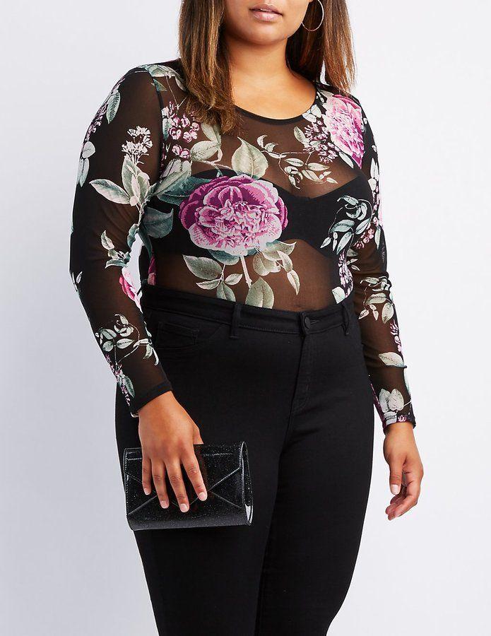 4864a0e9145417 Charlotte Russe Plus Size Floral Mesh Bodysuit | Products | Mesh ...