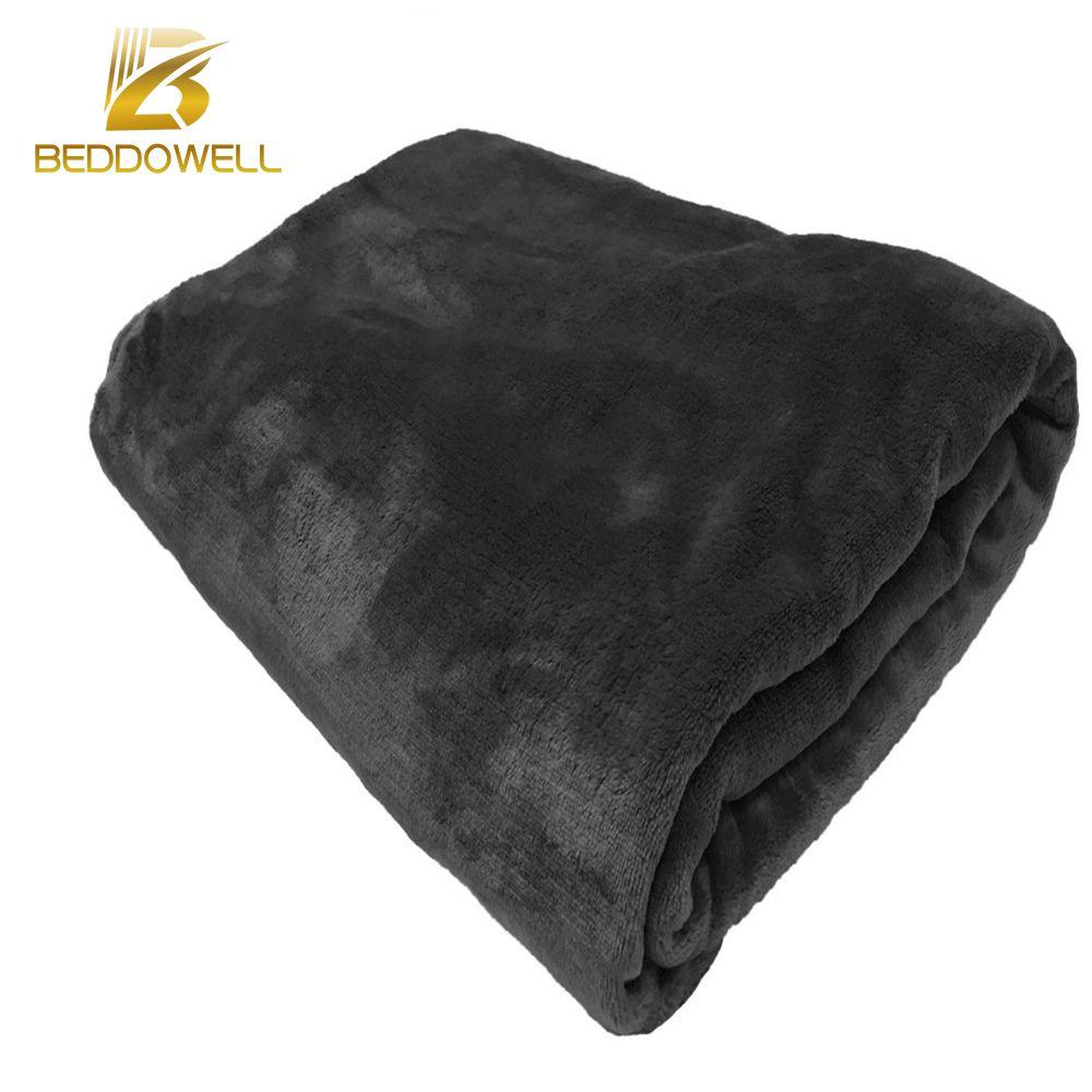 Flannel fleece blanket  Beddowell Flannel Coral Fleece Blanket Solid Black Color Mink Throw