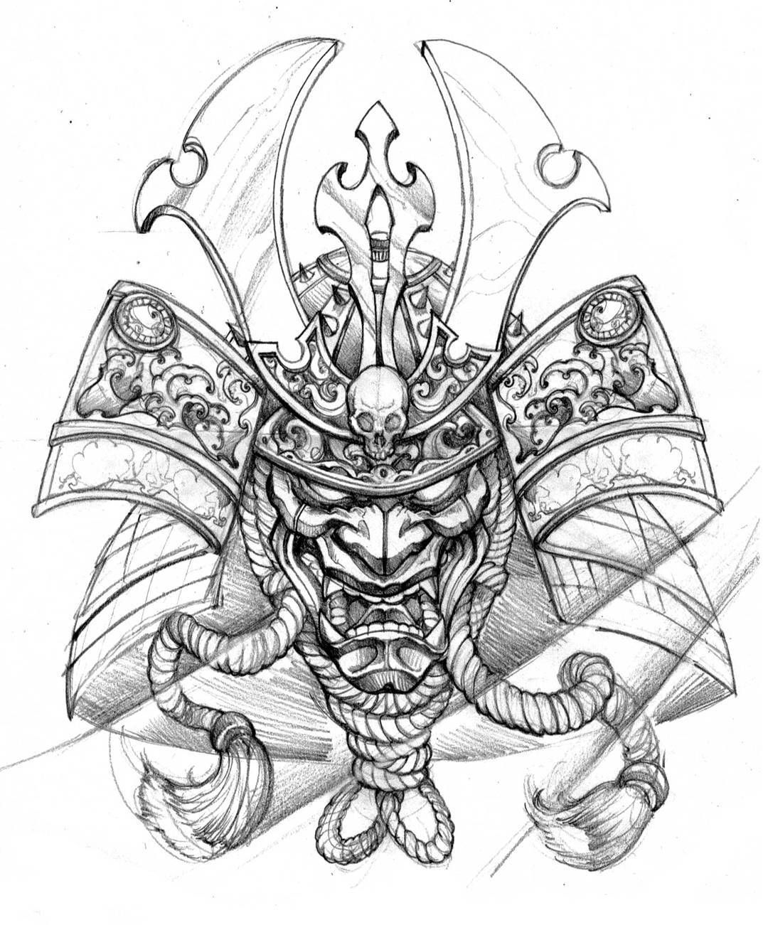 Top Free Oni Irezumi Backgrounds: Helmet Design Outline For Print