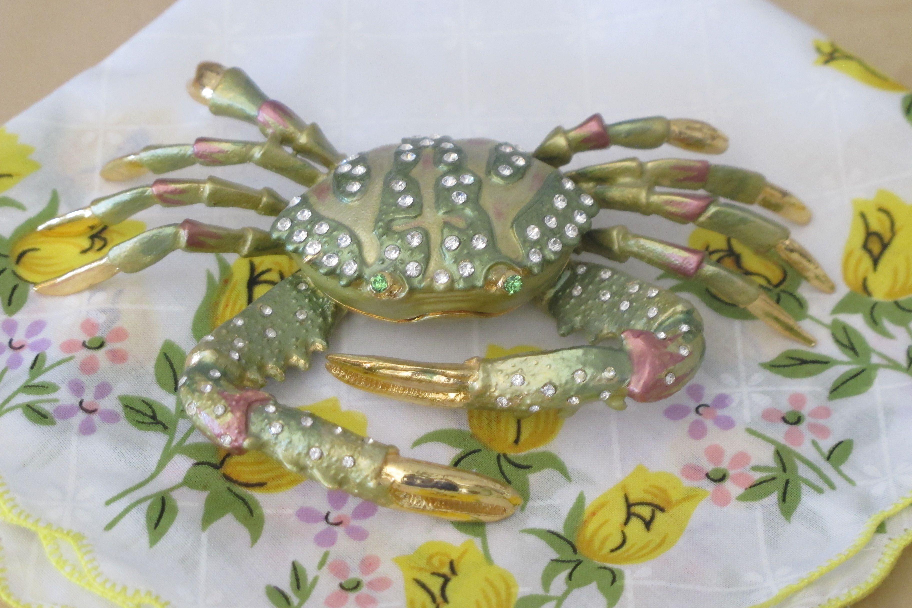 Green crab trinket box