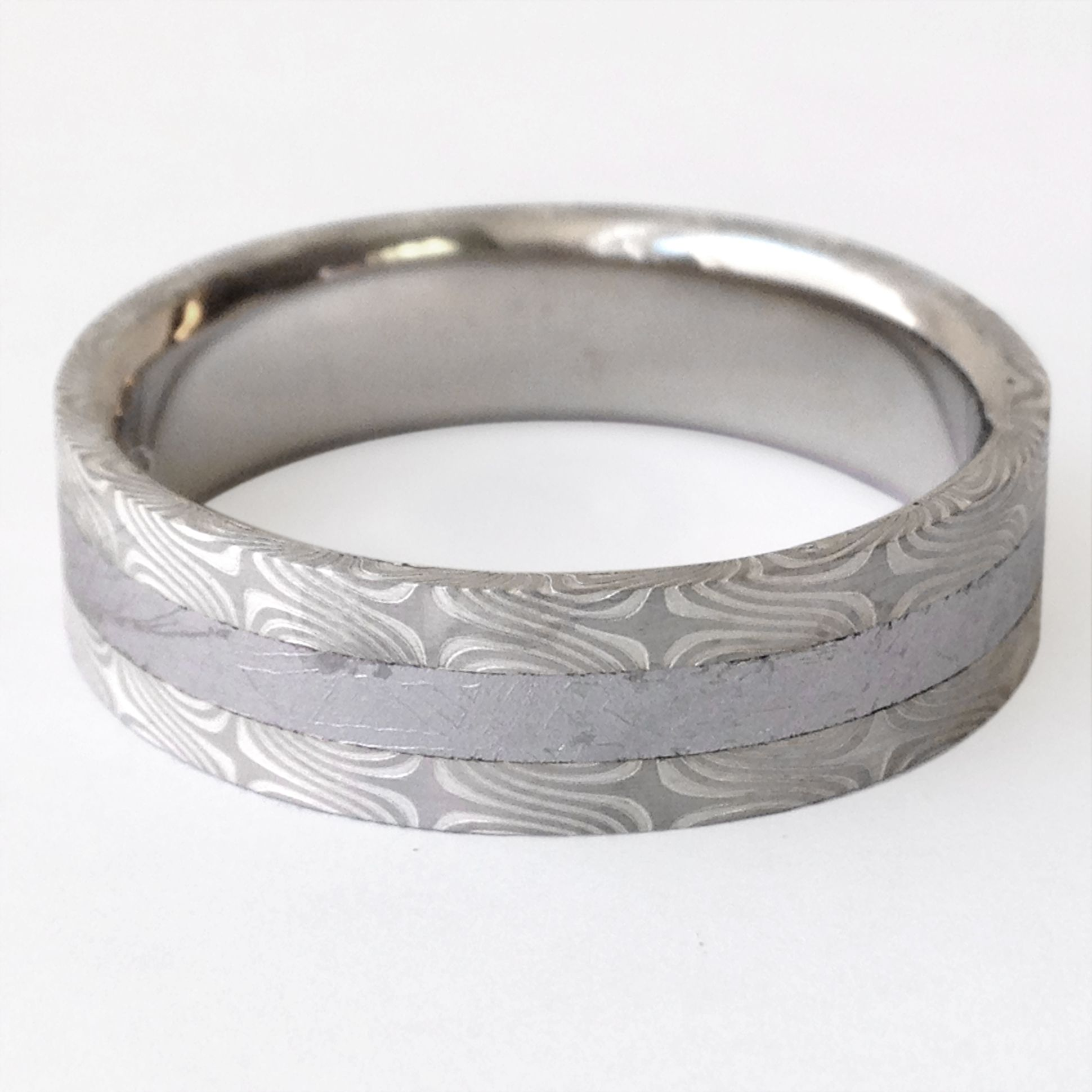 mokume gane wedding bands Mokume gane wedding band inlaid with meteorite iron By Chris Ploof