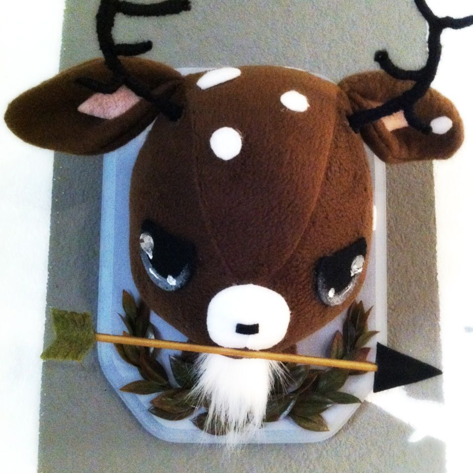 Battle Stag plush taxidermy by Stitch of Whimsy .