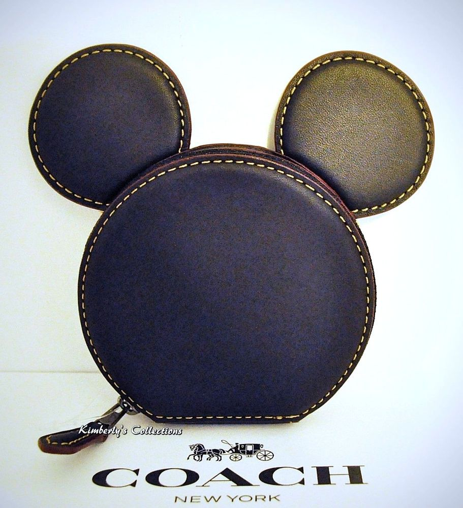 COACH X DISNEY Limited Edition MICKEY MOUSE Ears Leather Coin Purse Case NWT #Coach #CoinPurse