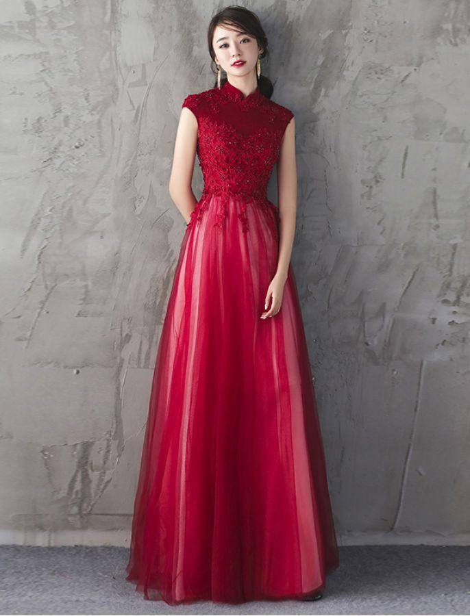bbcb80432fa So Smitten Elegant Mandarin Collar Evening Dress Red Dress