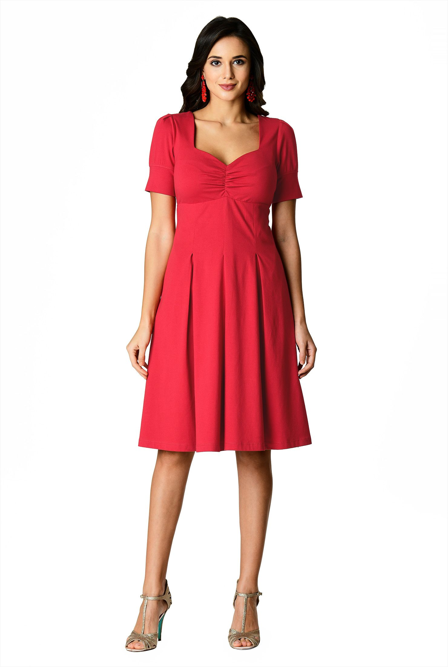 red dress with sleeves knee length