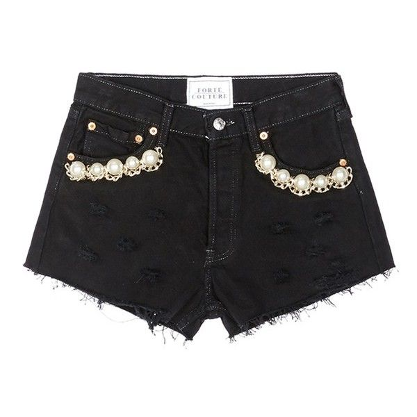 Forte Couture 'Kalifornia' faux pearl chain distressed denim shorts ($480) ❤ liked on Polyvore featuring shorts, bottoms, black, retro shorts, torn shorts, distressed shorts, ripped shorts and distressed denim shorts