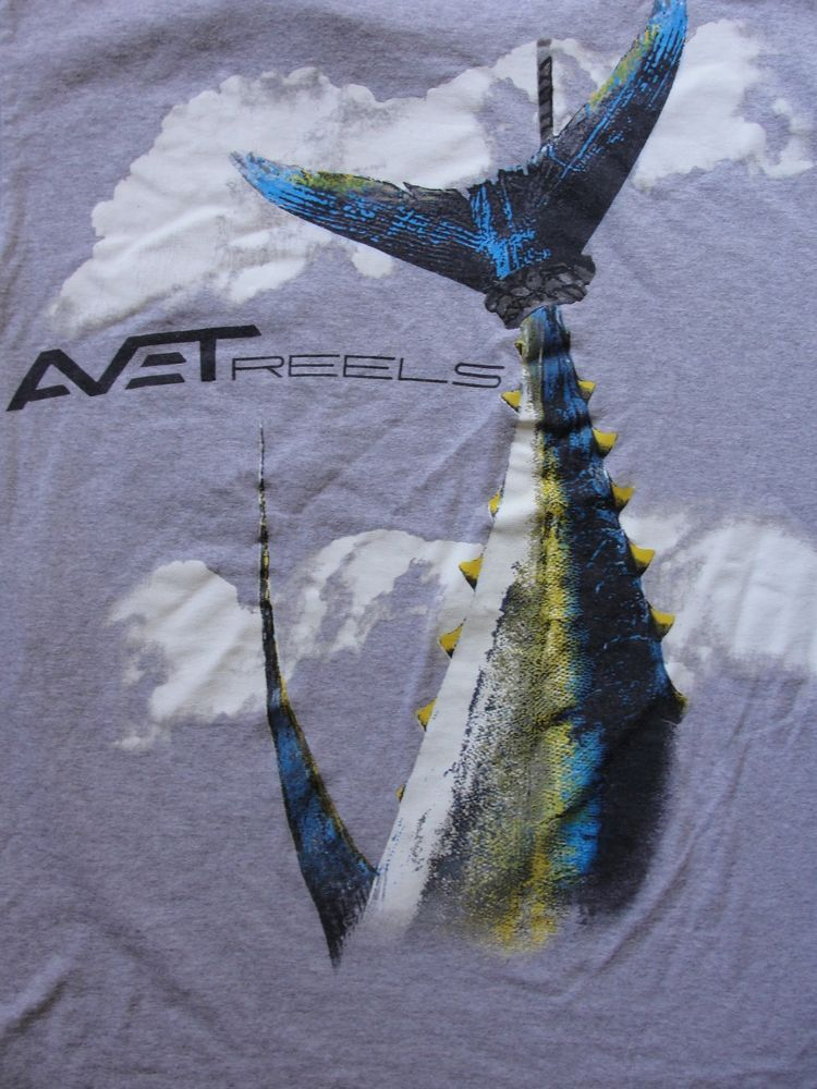 AVET Reels T-Shirt Extra Large XL Gym Gray Caught Yellow