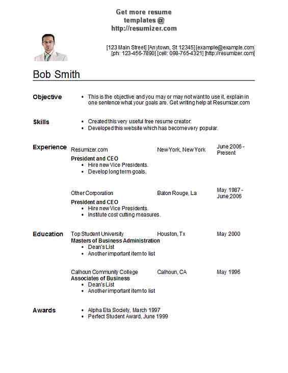 Resumizer Resume Template Style 29 Resume Templates