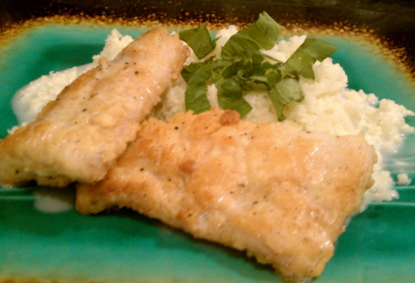 Mahi coated in coconut flour over a bed of cauliflower ...
