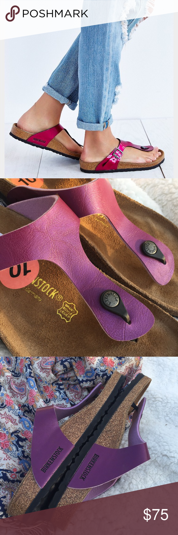 NWOT Birkenstock // Gizeh Sandal in Blackberry The brand's most iconic thong sandal, the Gizeh lends a sleek, stylish look that pairs well with almost any outfit. Comfort is a give-in thanks to the toe piece made of flexible resin that's anatomically designed to fit comfortably between the toes and the strap buckle that promises a secure fit. Slip into the Gizeh for simple, comfortable style. First picture is not of actual shoe. New without tags or box but have been tried on as they were a…
