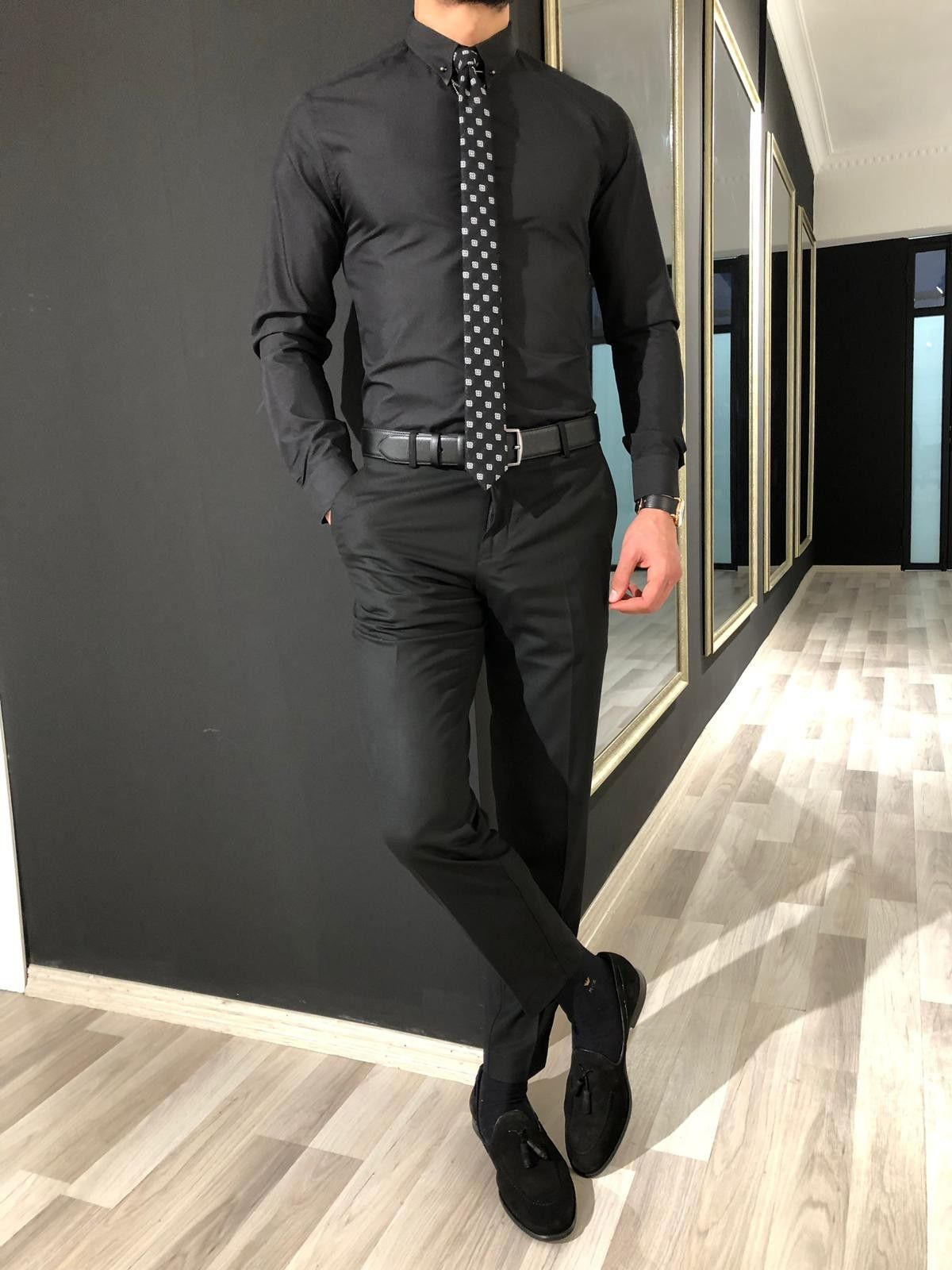 Buy Black Chain Collar Slim Fit Shirt By Gentwith Com With Free Shipping Black Dress Pants Men Black Dress Shirt Men Black Outfit Men [ 1600 x 1200 Pixel ]