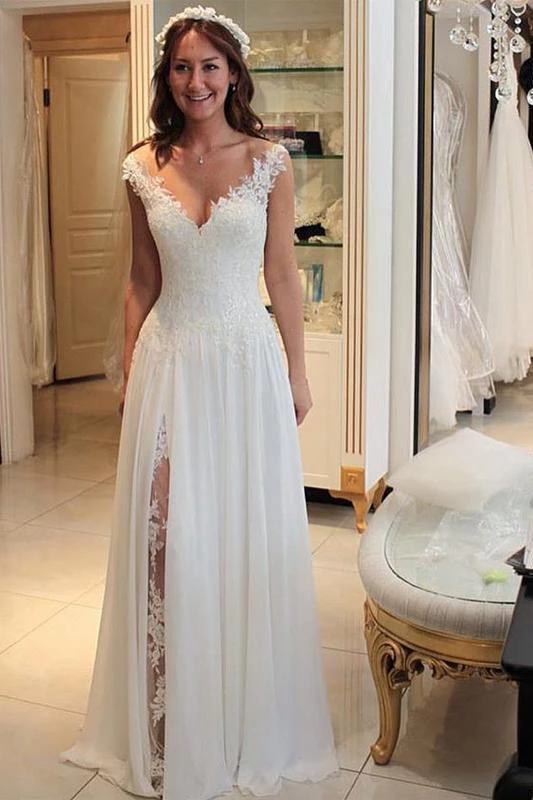 A Line Chiffon Beach Wedding Dress With Lace Long Flowy Bridal Dress With Lace N1772 Peach Bridesmaid Dresses Chiffon Wedding Dress Beach Ivory Bridesmaid Dresses