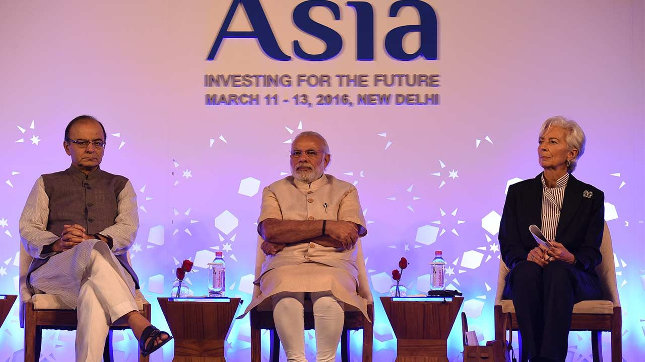 Indian Finance Minister Arun Jaitley (L), Prime Minister Narendra Modi (C) and Managing Director for the International Monetary Fund (IMF) Christine Lagarde India's central bank chief on Saturday s…