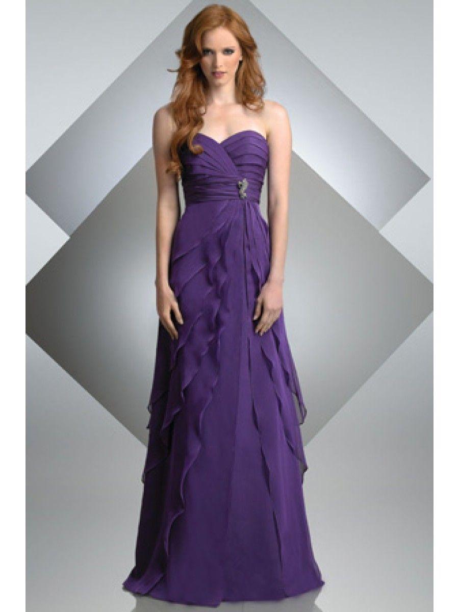 Custom Made Affordable Sweetheart Long Purple Chiffon Bridesmaid ...
