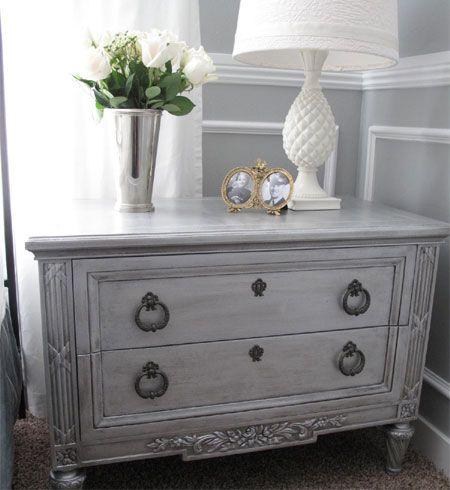 Exceptionnel DIY Gray Nightstand   Use Silver Paint On A Bureau   Like Ralph Laurenu0027s  Regent Metallic Silver Base Paint And Ralph Laurenu0027s Metallic Finish Roller;