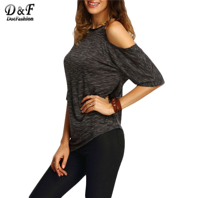 Dotfashion Women Black Cold Sholder Asymmetric Hem Tops Summer Style 2016 New Casual Ladies Tees Crew Neck Half Sleeve T-shirt