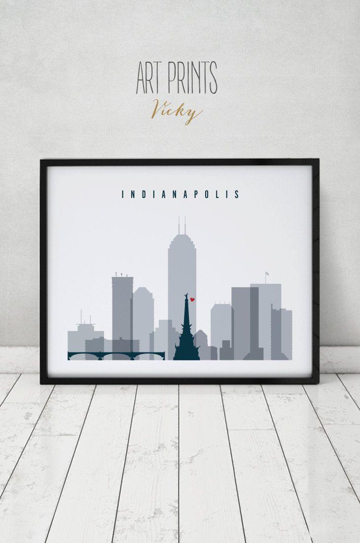 Indianapolis Skyline Art Print Poster Wall Art Indiana Art Etsy Poster Wall Art Posters Art Prints Wall Art Prints