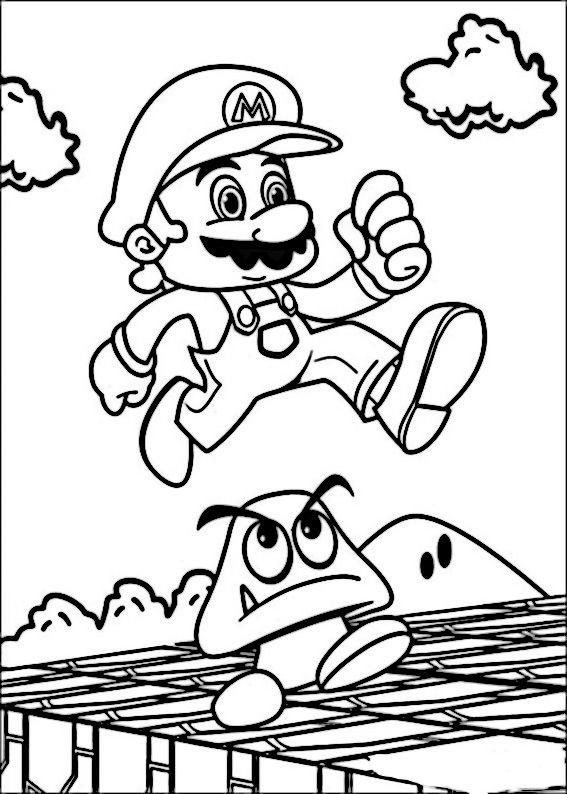 Mario Bross Tegninger til Farvelægning. Printbare Farvelægning for ...