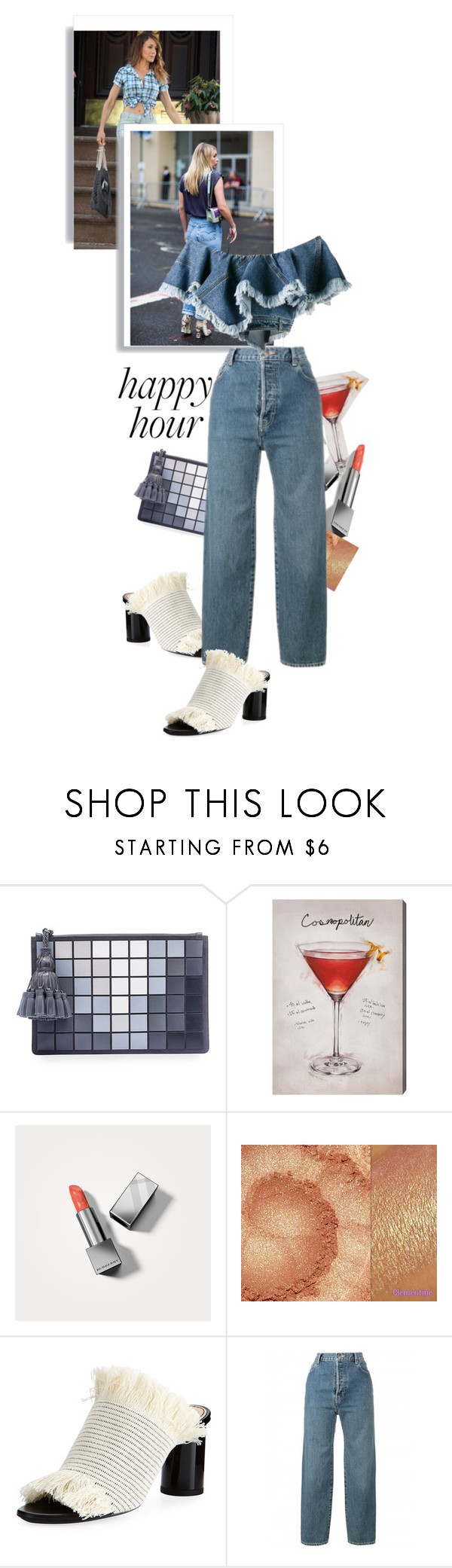 """""""Hello Carrie Shall we drink?"""" by black-eclipse-red-sky ❤ liked on Polyvore featuring Anya Hindmarch, Oliver Gal Artist Co., Burberry, Proenza Schouler, Levi's, Philosophy di Lorenzo Serafini, denim, peach, carriebradshaw and happyhour"""