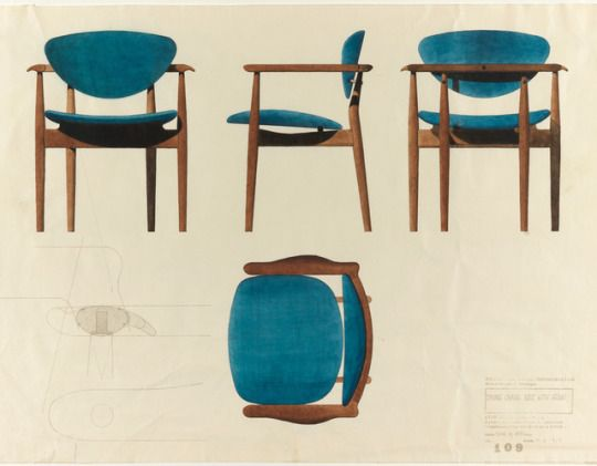 Scandinaviancollectors: U201cFINN JUHL, Watercolor Drawing For A Dining Chair  For The Baker Furniture Incorporated, USA / Cooper Hewitt U201d