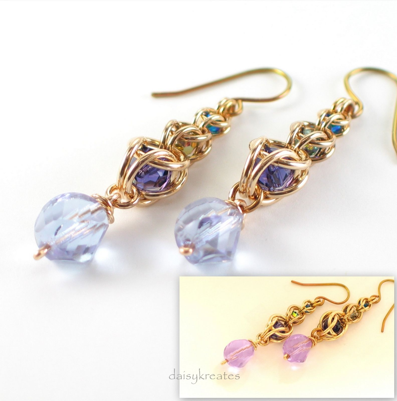 Multicolor Golden Harvest Earrings with Captive Crystals and Color ...