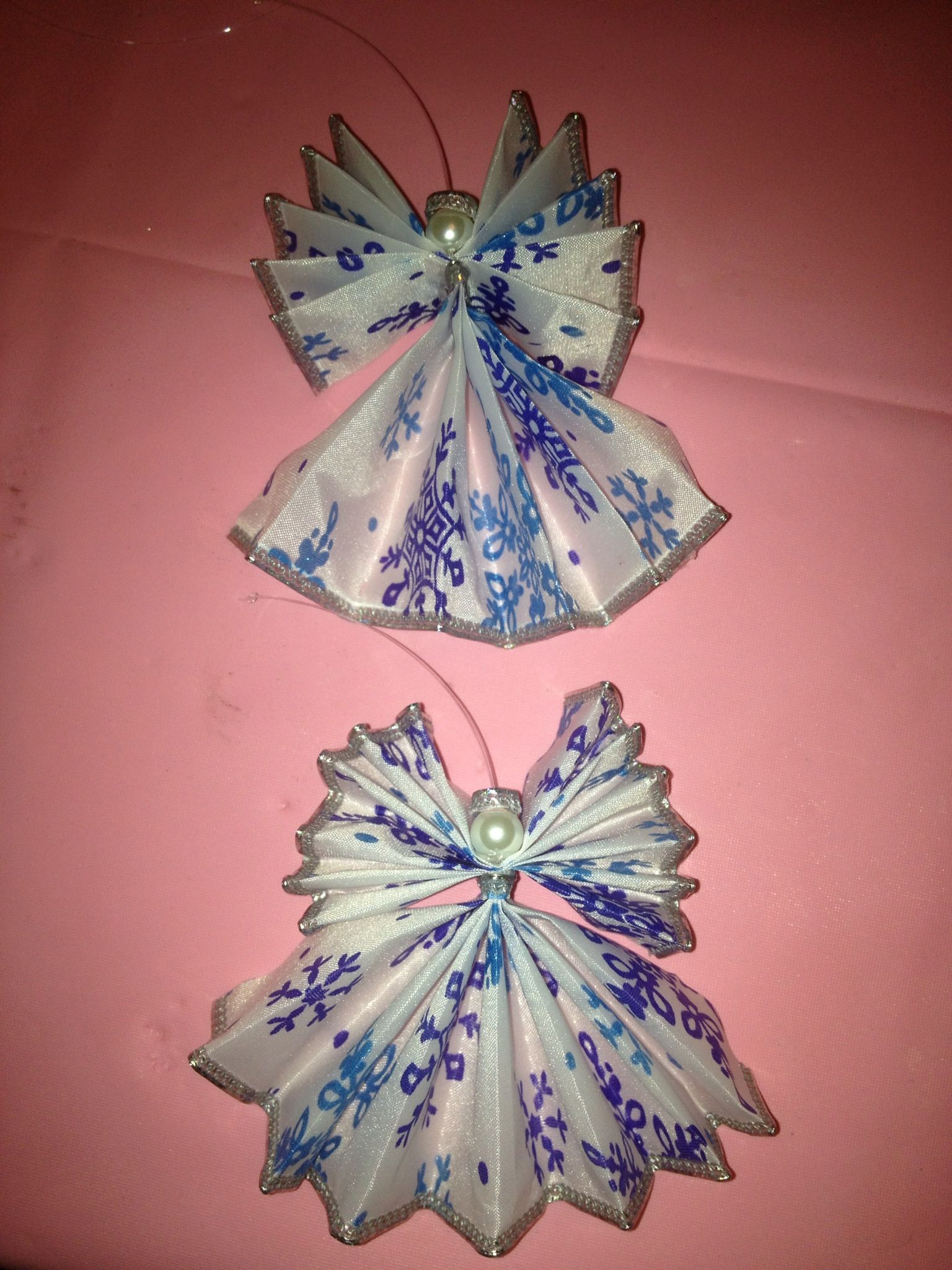 Ribbon Angel Ornaments 5 Fan Folds And Wired To Make