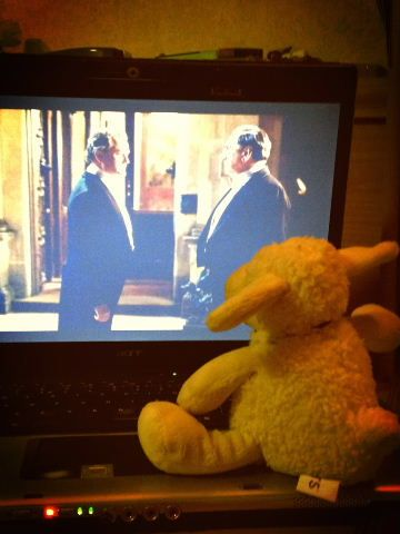 Lucky soaks up some British culture by watching Downton Abbey.