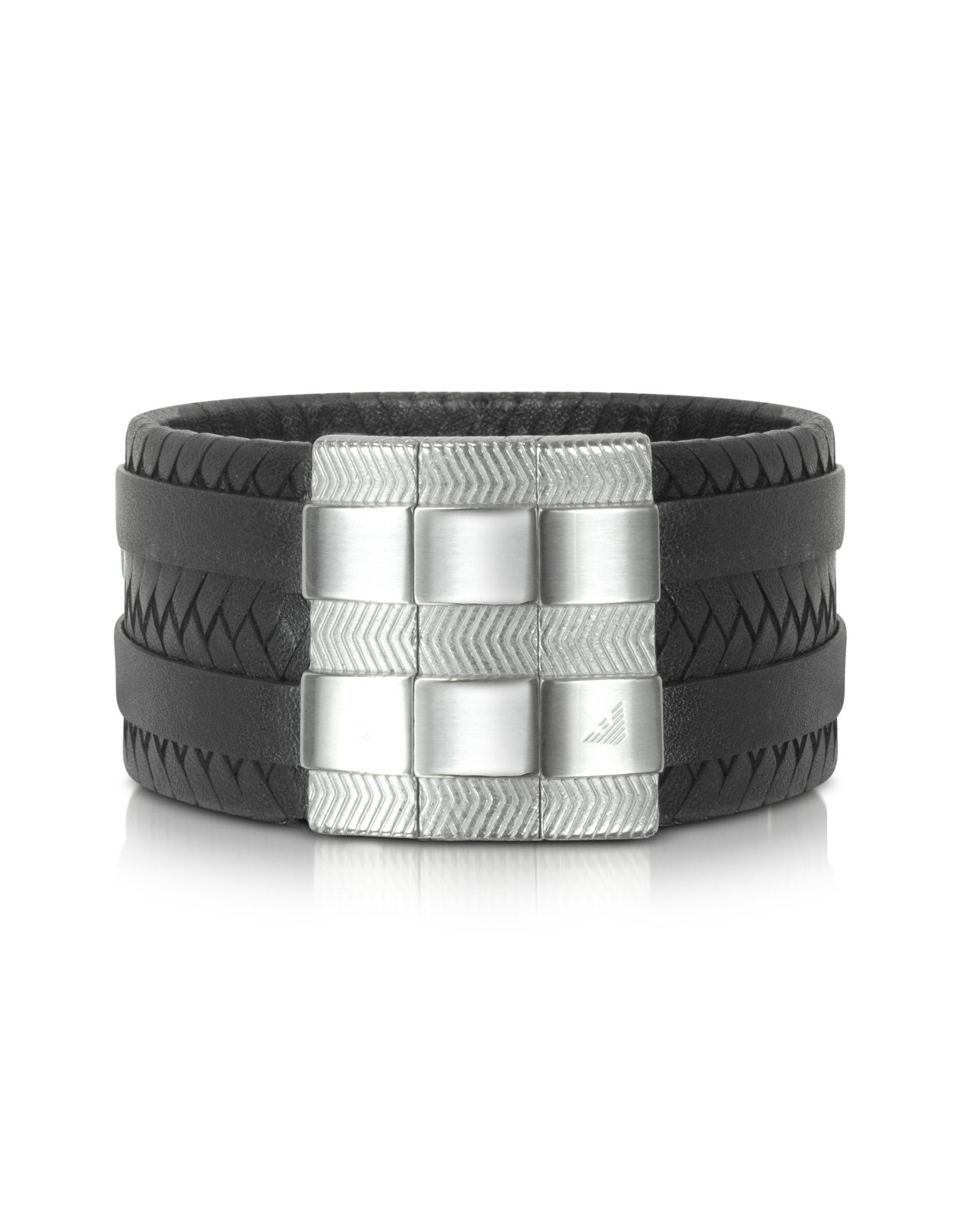7b7a9f4a1 Men's Metallic Wide Braided Leather Bracelet   black - man`s fashion ...