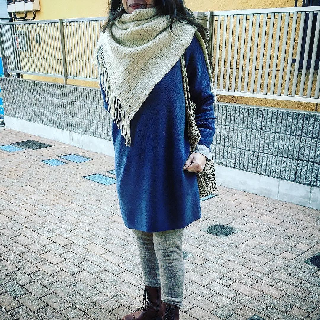 北歐風にニットパンツアウターニット ニットマフラーで #2017fashion #winterfashion #fashion #coordinate #outfit #tokyo # ...