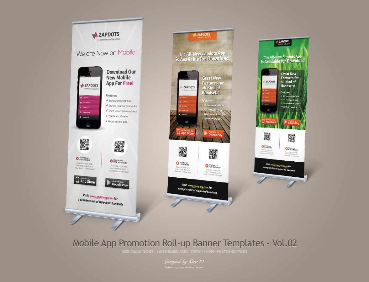 mobile app promotion roll up banners by on deviantart banner roll. Black Bedroom Furniture Sets. Home Design Ideas