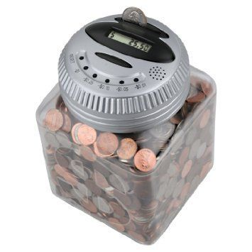 Electronic Talking Piggy Bank Digital Counting Money Coin Jar With Activated Voice Feedback Lcd Display Silver Http Coin Jar Money Saving Box Piggy Bank