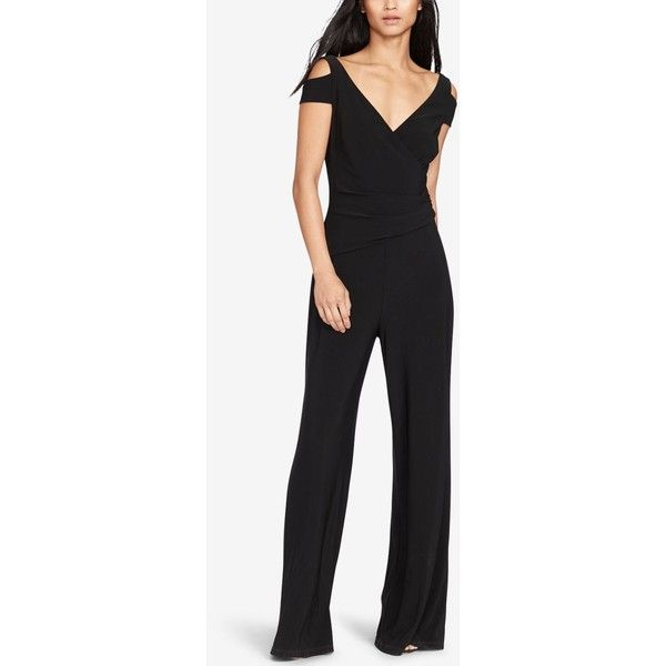 f860086f0833 Lauren Ralph Lauren Stretch-Jersey Cold Shoulder Jumpsuit ( 149) ❤ liked on  Polyvore featuring jumpsuits