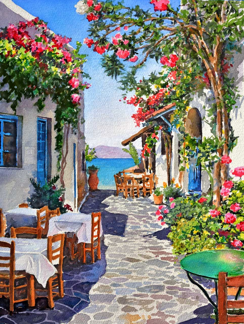 L mina acuarela cuadro grecia paisaje pinturas en - Ideas para pintar cuadros ...